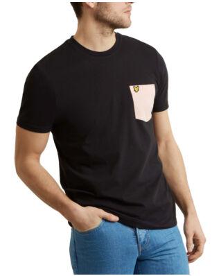 Lyle & Scott Contrast Pocket T Shirt True Black/Coral Way
