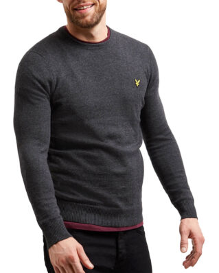Lyle & Scott Cotton Merino Crew Jumper Charcoal Marl