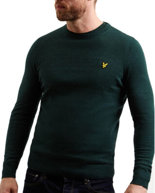 Lyle & Scott Cotton Merino Crew Jumper Jade Green Marl