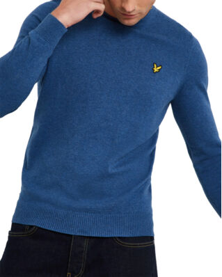 Lyle & Scott Cotton Merino Crew Jumper Lapis Blue Marl
