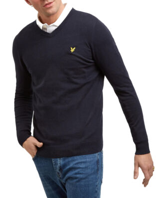 Lyle & Scott Cotton Merino V Neck Jumper Dark Navy