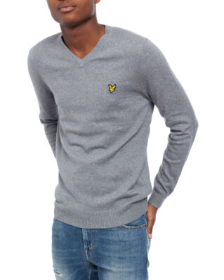 Lyle & Scott Cotton Merino V Neck Jumper Mid Grey Marl