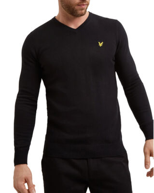 Lyle & Scott Cotton Merino V Neck Jumper True Black
