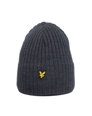 Lyle & Scott Knitted Ribbed Beanie Mid Grey Marl