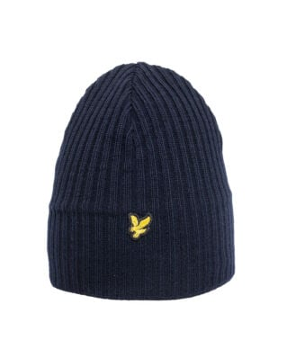Lyle & Scott Knitted Ribbed Beanie New Navy