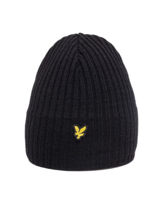 Lyle & Scott Knitted Ribbed Beanie True Black