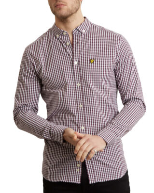 Lyle & Scott Ls Slim Fit Gingham Shirt Burgundy