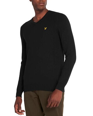 Lyle & Scott Cotton Merino V-Neck Jumper Jet Black