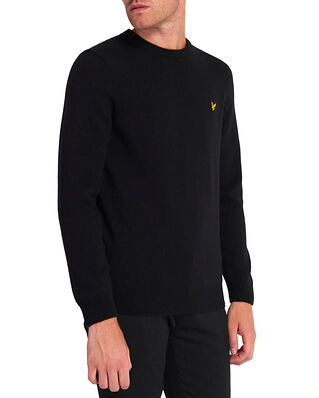 Lyle & Scott Crew Neck Lambswool Blend Jumper Jet Black Marl