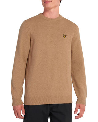 Lyle & Scott Crew Neck Lambswool Blend Jumper Sand Storm