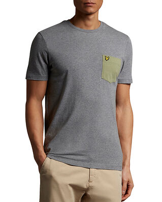 Lyle & Scott Contrast Pocket T-shirt Mid Grey Marl/ Moss