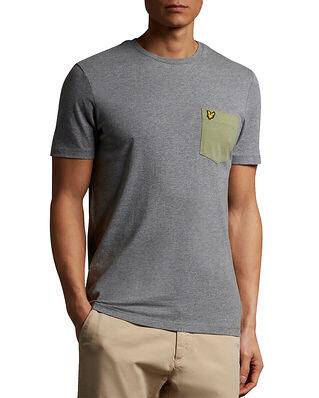 Lyle & Scott Contrast Pocket T-shirt Mid Grey Marl/ Moss