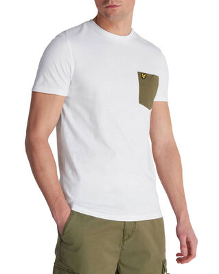 Lyle & Scott Contrast Pocket T Shirt White/ Lichen Green