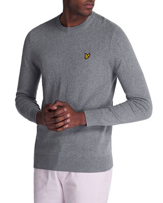 Lyle & Scott Cotton Merino Crew Jumper Mid Grey Marl