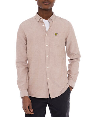 Lyle & Scott Regular Fit Light Weight Oxford Shirt Tawny Brown/White