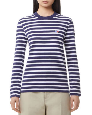 Maison Kitsuné Marin Tee-Shirt Tricolor Fox Patch Navy White