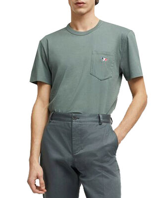 Maison Kitsuné Tee-Shirt Tricolor Fox Patch Blue Green