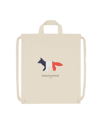 Maison Kitsuné Tricolor Fox Tote Backpack Ecru