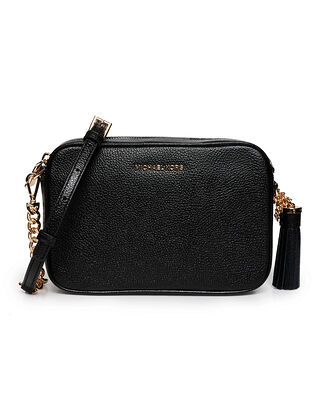 Michael Kors Ginny Leather Crossbody Bag Black