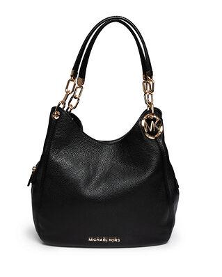 Michael Kors Lillie Large Pebbled Leather Shoulder Bag Black