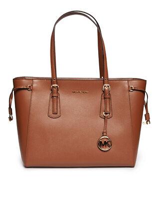 Michael Kors Voyager Medium Crossgrain Leather Tote Bag Luggage