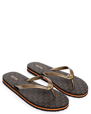 Michael Kors Eva Stripe Flipflop Brown