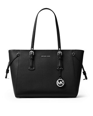 Michael Kors Voyager Medium Crossgrain Leather Tote Bag Black