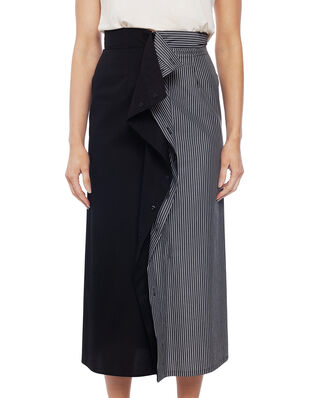 MM6 Maison Margiela Long Cotton Skirt Stripe Black/White