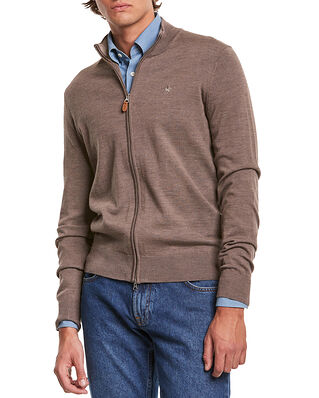 Morris Merino Zip Cardigan Brown