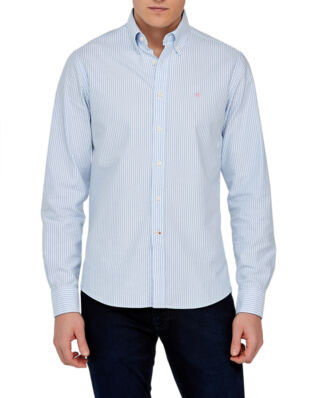 Morris Oxford striped button down light blue shirt