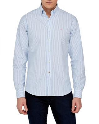 Morris Oxford striped button down light blue shirt