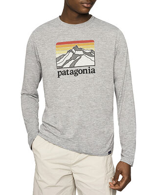 Patagonia M's L/S Cap Cool Daily Graphic Shirt Line Logo Ridge Feather Grey
