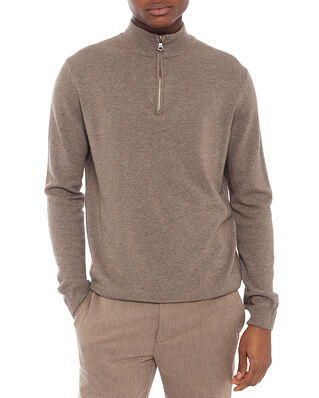 Oscar Jacobson Patton Half Zip Walnut Beige