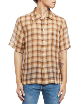 Our Legacy Box Shirt Short Sleeve Raw Net Brown Yellow Check