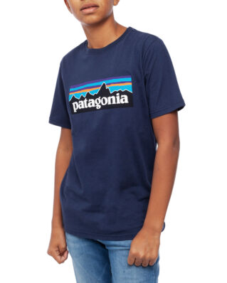 Patagonia Junior Boys P-6 Logo Organic T-shirt New Navy