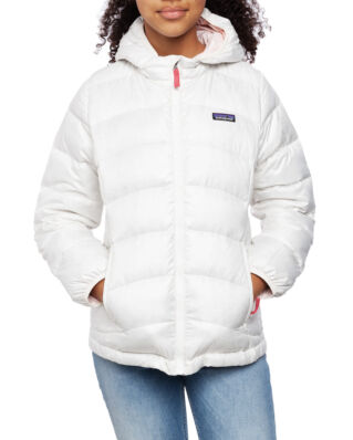 Patagonia Junior Girl's Hi-Loft Down Sweater Hoody Birch White W/Prima Pink