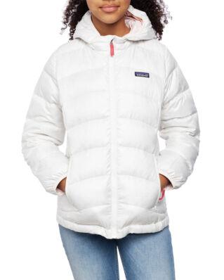 Patagonia Junior Girl's Hi-Loft Down Sweater Hoody Birch White W/Prima Pink