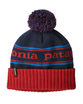 Patagonia Junior K's Powder Town Beanie Park Stripe Fire