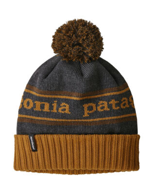 Patagonia Junior K's Powder Town Beanie Park Stripe Hammonds Gold w/Owl Brown