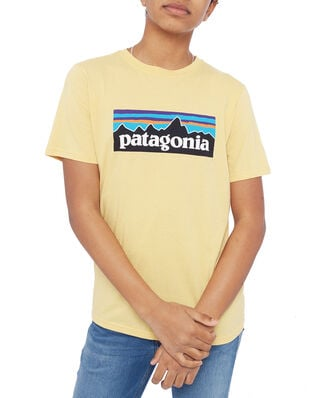 Patagonia Junior Boys' P-6 Logo Organic T-Shirt Surfboard Yellow