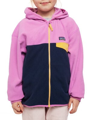 Patagonia Girls' Micro D Snap-T Jkt New Navy w/Marble Pink