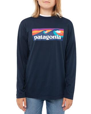 Patagonia Junior Boys' L/S Cap Cool Daily T-Shirt Boardshort Logo: New Navy