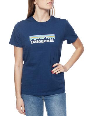 Patagonia W's Pastel P-6 Logo Organic Crew T-Shirt Stone Blue