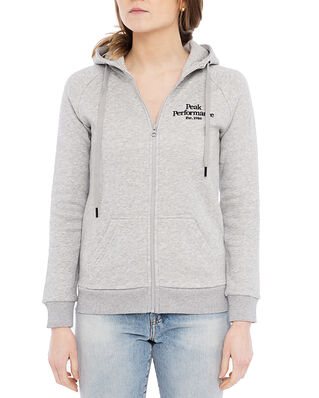 Peak Performance W Original Zip Hood Med Grey Melange