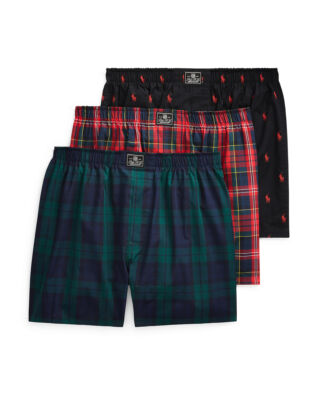 Polo Ralph Lauren Cotton Boxer 3-Pack Pld/Blckwt/Pl Blk Aopp