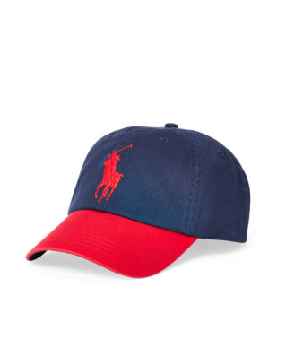 Polo Ralph Lauren Cotton Chino Baseball Cap Newport Navy/RL200 Red
