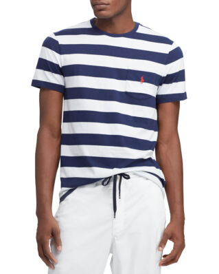 Polo Ralph Lauren Custom Slim Fit Cotton Tee White/Newport Navy