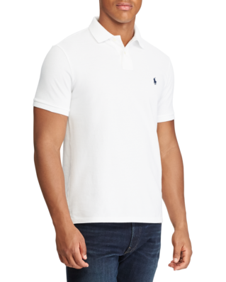 Polo Ralph Lauren Custom Slim Fit Mesh Polo White W/ Newport Navy PP