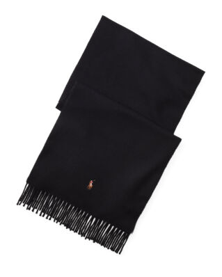 Polo Ralph Lauren Fringed Wool Scarf Black