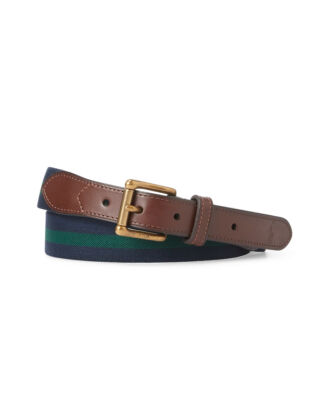 Polo Ralph Lauren Leather Trim Stretch Belt French Nvy/Nw Frst/French Nvy